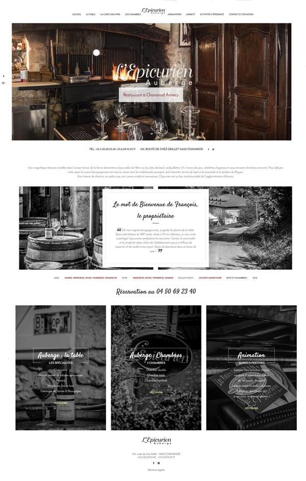 Création site web auberge l'épicurien Annecy