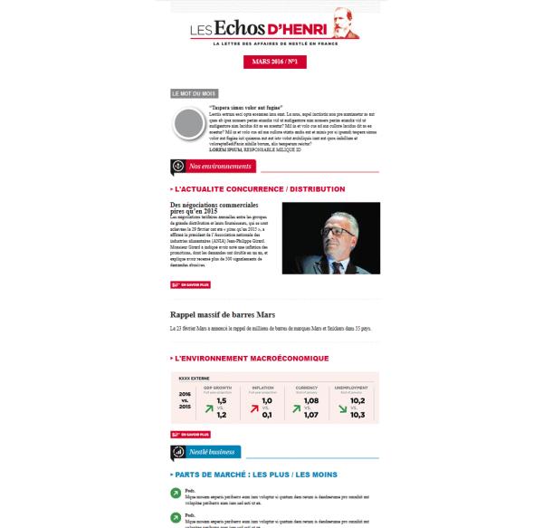 Les Echos d'Henry Emailing Nestlé France