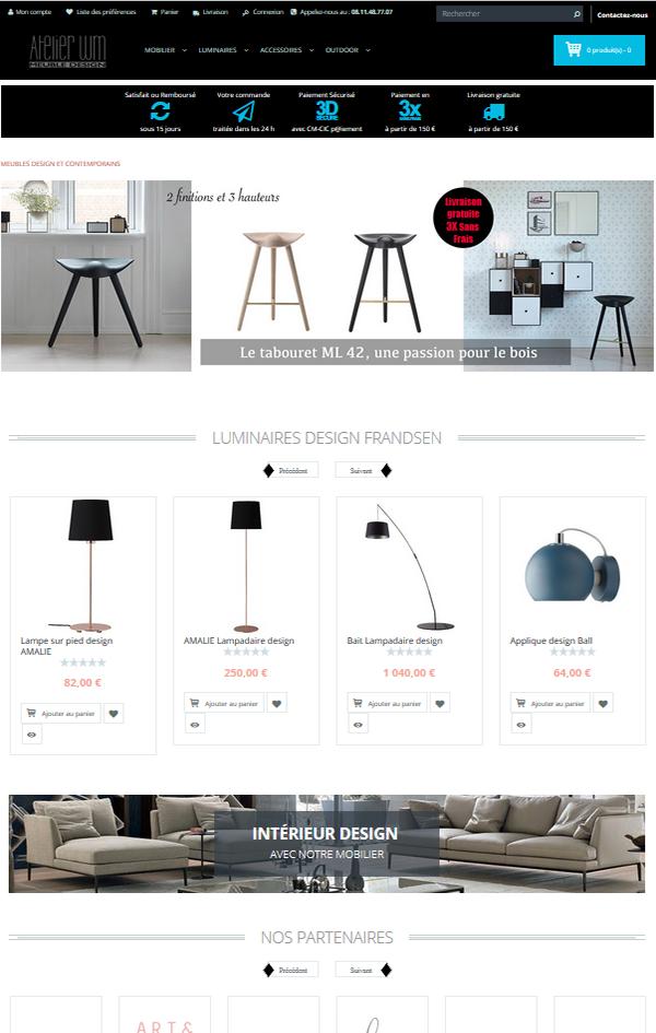 Création site Internet e-commerce meubles design Montpellier France