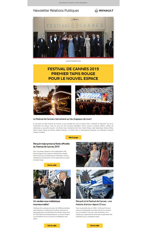 Renault Prestige et le festival de Cannes, newsletters annuelles