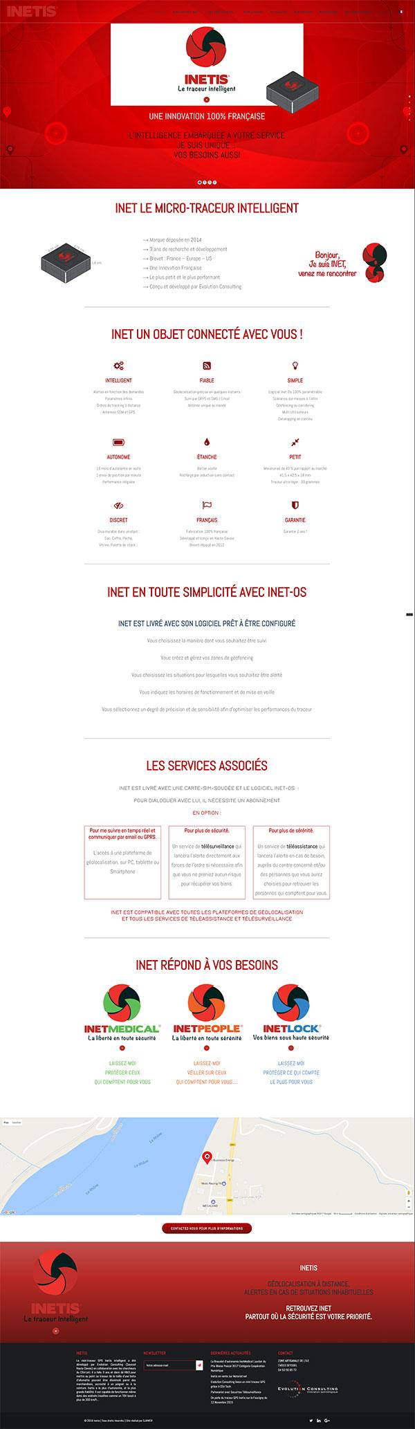 site web vitrine haute technologie du traceur Inetis